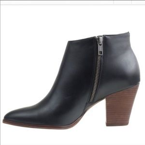 J Crew leather ankle booties side zip